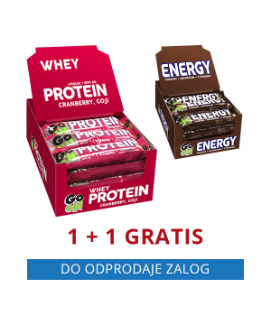 GO ON beljakovinska ploščica BRUSNICE (24 kos) + GRATIS GO ON energijska ploščica ENERGY (24 kos)