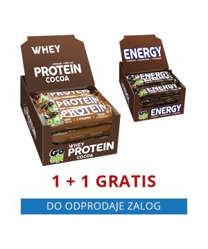 GO ON beljakovinska ploščica KAKAV (24 kos) + GRATIS GO ON energijska ploščica ENERGY (24 kos)