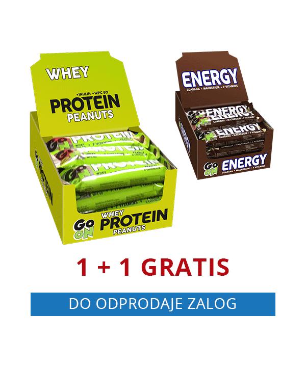 GO ON beljakovinska ploščica ARAŠID (24 kos) + GRATIS GO ON energijska ploščica ENERGY (24 kos)