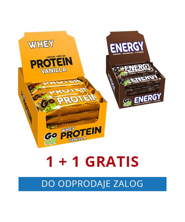 GO ON beljakovinska ploščica VANILIJA (24 kos) + GRATIS GO ON energijska ploščica ENERGY (24 kos)